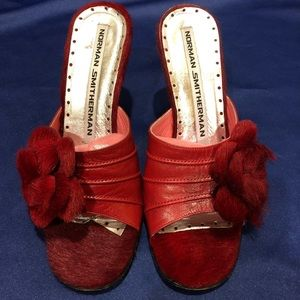 "Vintage Shoes - Red leather and fur floral 3"" heel"